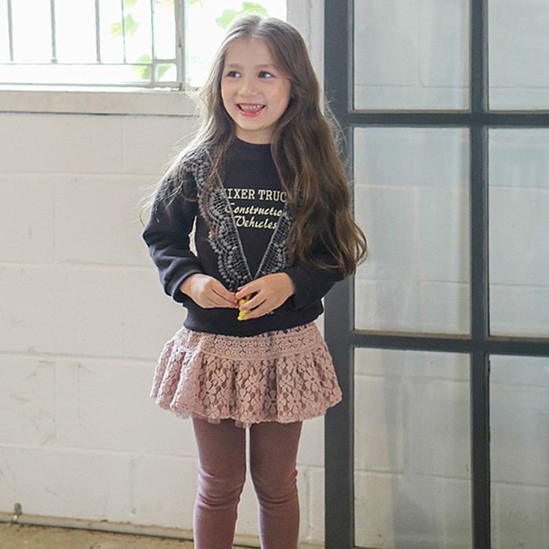 2017 New Girls Autumn Winter Casual Clothing Sets Letter Print Lace Long Sleeved T-shirt+ Skirt Pant 2Pcs Set Warm Clothes CC543 girls set 2018 new summer children clothing sets teens kids clothes lace short sleeved t shirt long skirts 2pcs sets cc717
