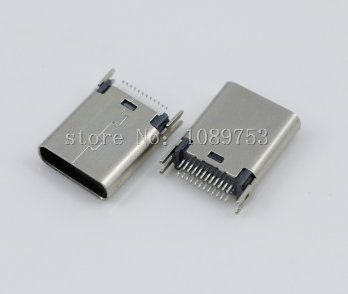 2Pcs USB 3.1 Type C Female Socket Connector 24pin 180 degree Vertical PCB High speed DIY Connectors 1cm usb jack 10mm a type female usb 2 0 180 degree dip vertical usb connector socket