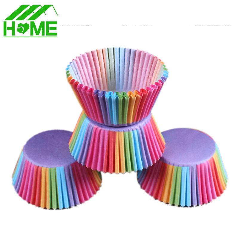 500Pcs <font><b>Colorful</b></font> <font><b>Rainbow</b></font> <font><b>Paper</b></font> <font><b>Cake</b></font> <font><b>Cupcake</b></font> <font><b>Liner</b></font> <font><b>Baking</b></font> Muffin Box Cup Case Tool Party Tray <font><b>Cake</b></font> Stand Mold Decorating Tools