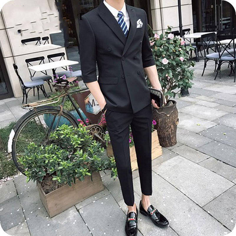 Double Breasted Mens Suits Black Groom Tuxedos Groomsmen Suits Blazer 2Piece Business Man Wear Costume Homme Terno Masculino
