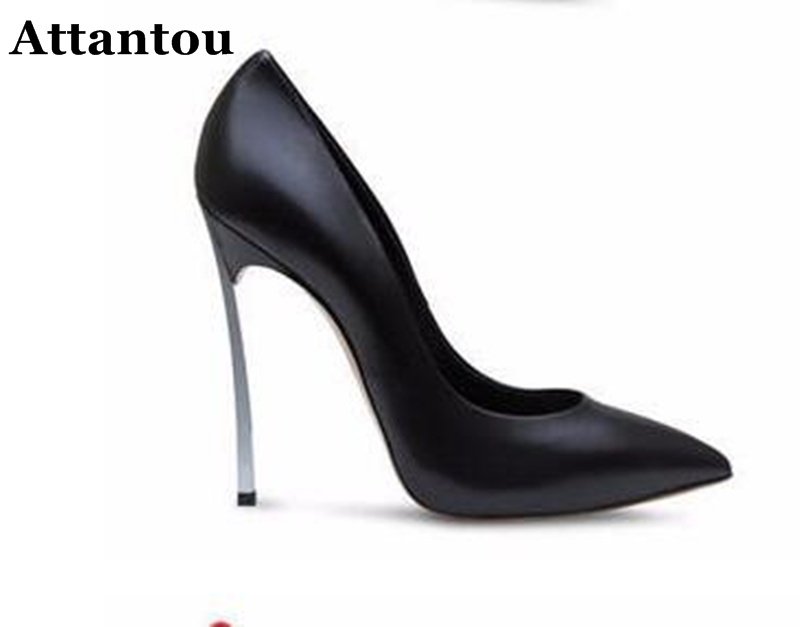 Attantou New European Style Sexy Women High Heels Pumps Shallow Mouth Pointed Toe Stiletto High Heels Banquet Party Stage Shoes burgundy gray saphire blue pink women dress party career work shoes flock shallow mouth stiletto thin high heel pumps