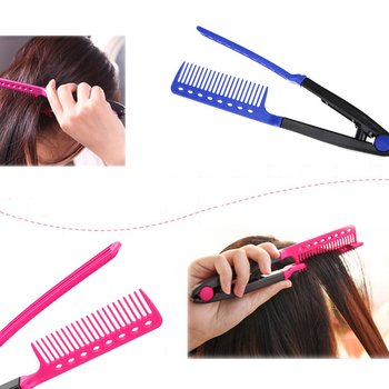 Fashion V Type Hair Comb Hair Straightener Combs DIY Salon Haircut Hairdressing Styling Tool Barber Anti-static Combs Brush Straightening Iron