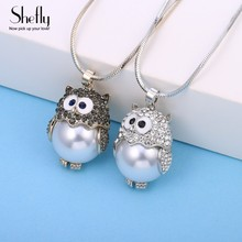 Shefly Silver Color Cute Owl Dazzling CZ Fresh Water Pearl Pendant Necklaces For Women Gift Jewelry For Her XL08412