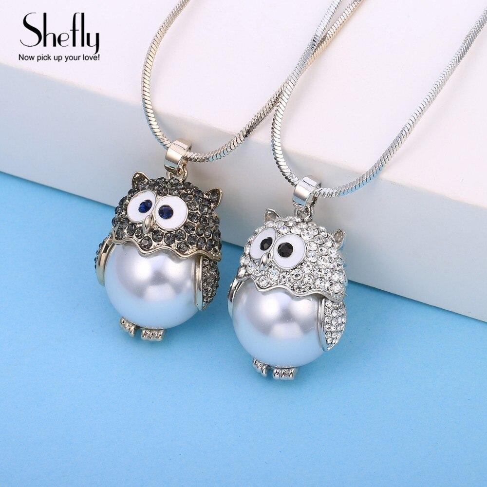 b0c4e6bd2bd7 Shefly de Color plata búho lindo deslumbrante CZ agua dulce perla colgante  collares para mujeres joyería de regalo para su XL08412 - a.dupa.me
