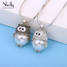 Silver and Coffee Gold Color Owl with CZ Fresh Water Pearl Pendant Necklaces For Women , Long Necklace Fashion Jewelry Gift 2019(China)