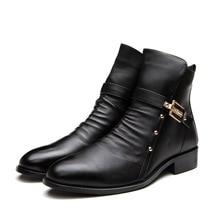 2016 British Men s Winter Boots Zipper Toe Black Men Shoes Genuine Leather Martin Boot chelsea