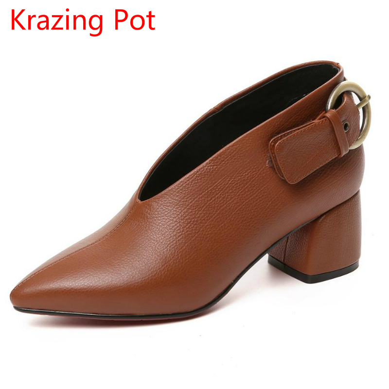 купить 2018 New Arrival Cow Leather Metal Brand Winter Shoes High Heels Women Pumps Pointed Toe Autumn Office Lady Winter Shoes L27 по цене 4369.52 рублей