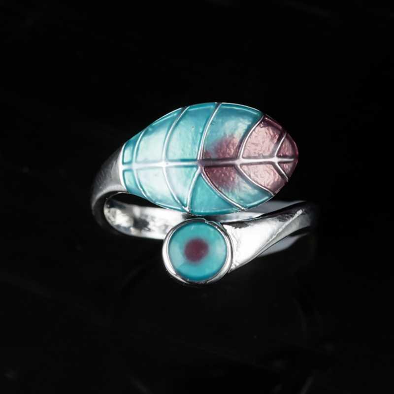 Bonito anillo ajustable de hoja para mujer, anillo de boda de oro rosa plateado a la moda para mujer, anillo de ópalo verde fuego blanco y azul bohemio
