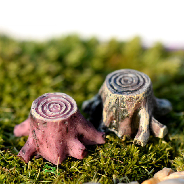 2pcs Tree Stump resin figurine decorative jardin Moss micro landscape home decor miniature fairy garden decoration accessories 4