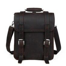 Brand Design Men Genuine Crazy Horse Leather Backpack Vintage Daypack Multi Pocket Casual Rucksack Handmade Bag Pack