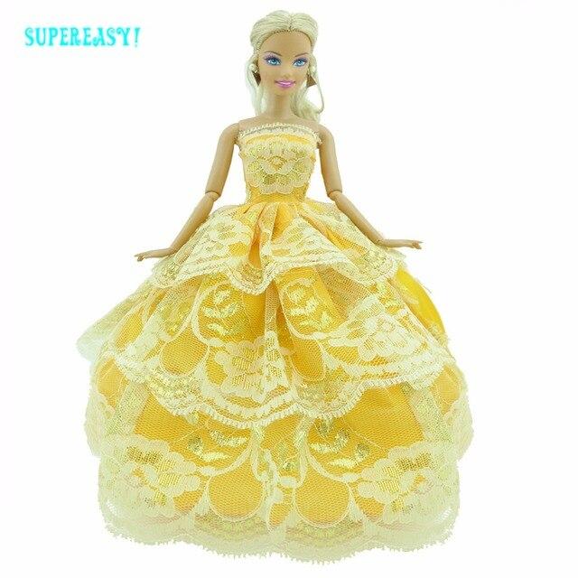 Busana kuning gaun buatan tangan pakaian pesta pernikahan strapless gaun  renda rok untuk barbie doll fr 9344c01cc8