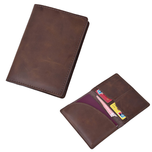 ce5bf84d57c1 US $8.91 35% OFF|Genuine Leather Passport Holder Vintage Crazy Horse  Leather Passport Cover ID Credit Card Case Travel Wallet for Russian  Spain-in ...