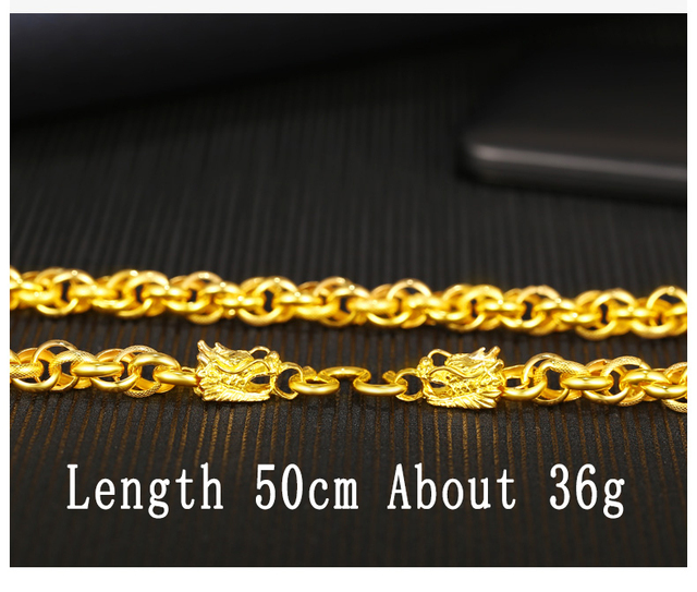 4c12b0fa2c7df 24K Pure Gold Necklace Real AU 999 Solid Gold Chain Generous Men's Faucet  Buckle Upscale Solid Classic Jewelry Hot Sell New 2018
