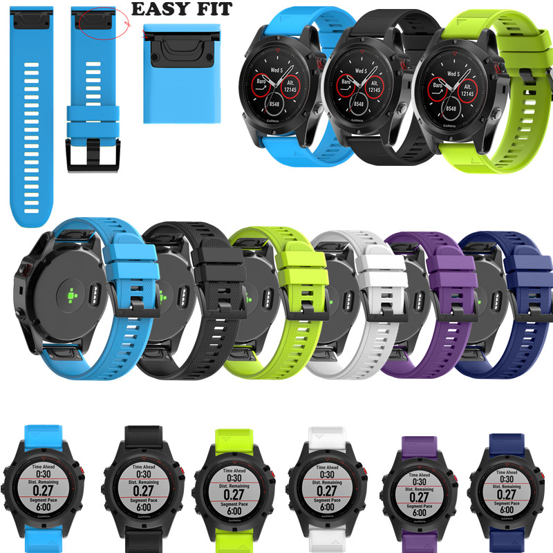 ASHEI Watchbands for Garmin Fenix 5X Band Easy Fit 26mm Width Soft Silicone Watch Strap for Garmin Fenix 5X Fenix 3 Fenix 3 HR