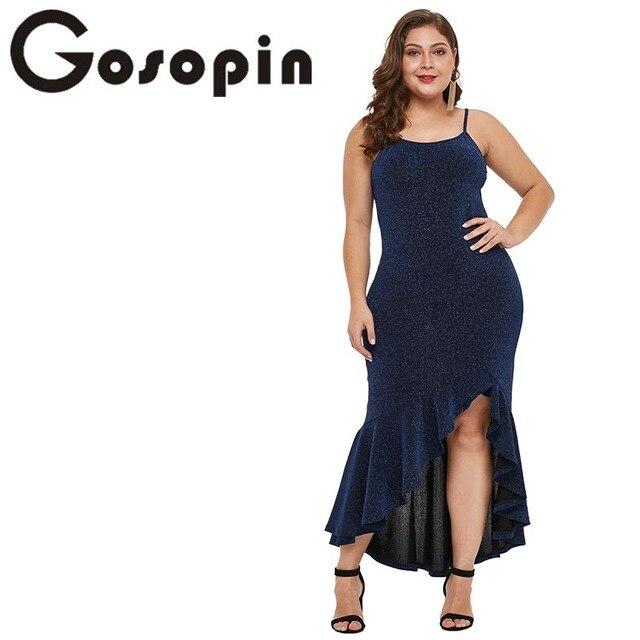 Gosopin Sexy Summer Dresses Woman Party Night Plus Size Shine Elegant Maxi  Dress Club Wear Ruffle 2019 Asymmetrical Dress 610939 0eeb2114864a