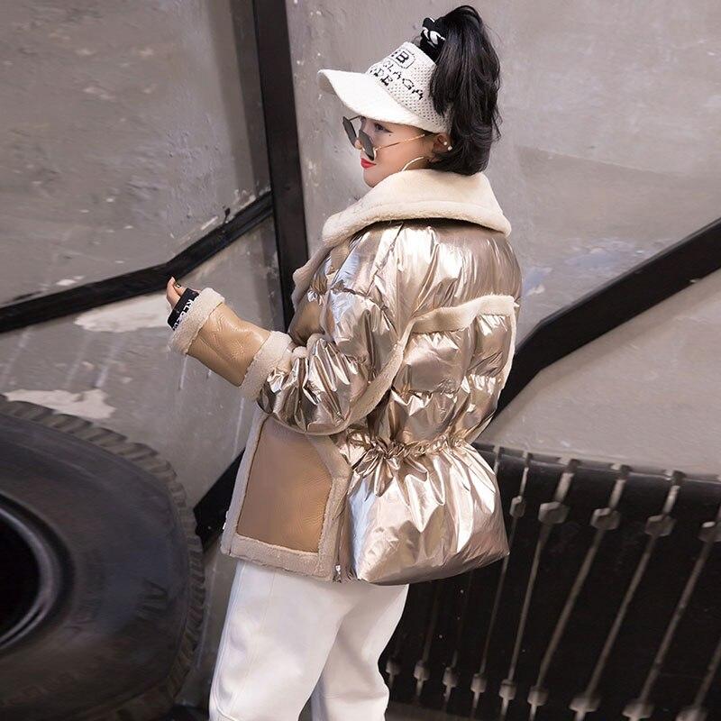 Coton Argent Manteau D'agneau Vêtement gold Bas Hiver De black Vers Femmes Le Veste Chaud Montant Brillant Col Pour Un En 2019 H106 Vestes Fourrure D'extérieur Mode Laine Silver q5UHW5