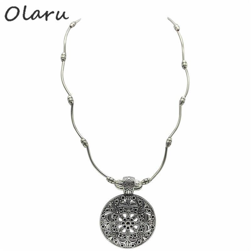 0f99b7951 Olaru mujer bijoux mujer declaración joyería de Tíbet caliente zinc  Aleación de la vendimia flor colgante collar de gota retro para las mujeres  ZS-023