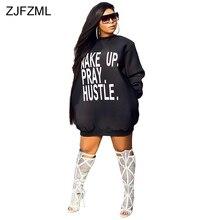 ZJFZML Letter Printed Sexy Plus Size Dress Women O Neck Long Sleeve Loose T Shirt Dress Casual Space Wadding Pockets Mini Dress