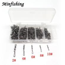 Minfishing 250 pcs/lot Swivel Fishing MS+GS Stainless Steel Rolling Swivel Size 2 4 6 8 10# Hook Connector Rock Fishing Swivels