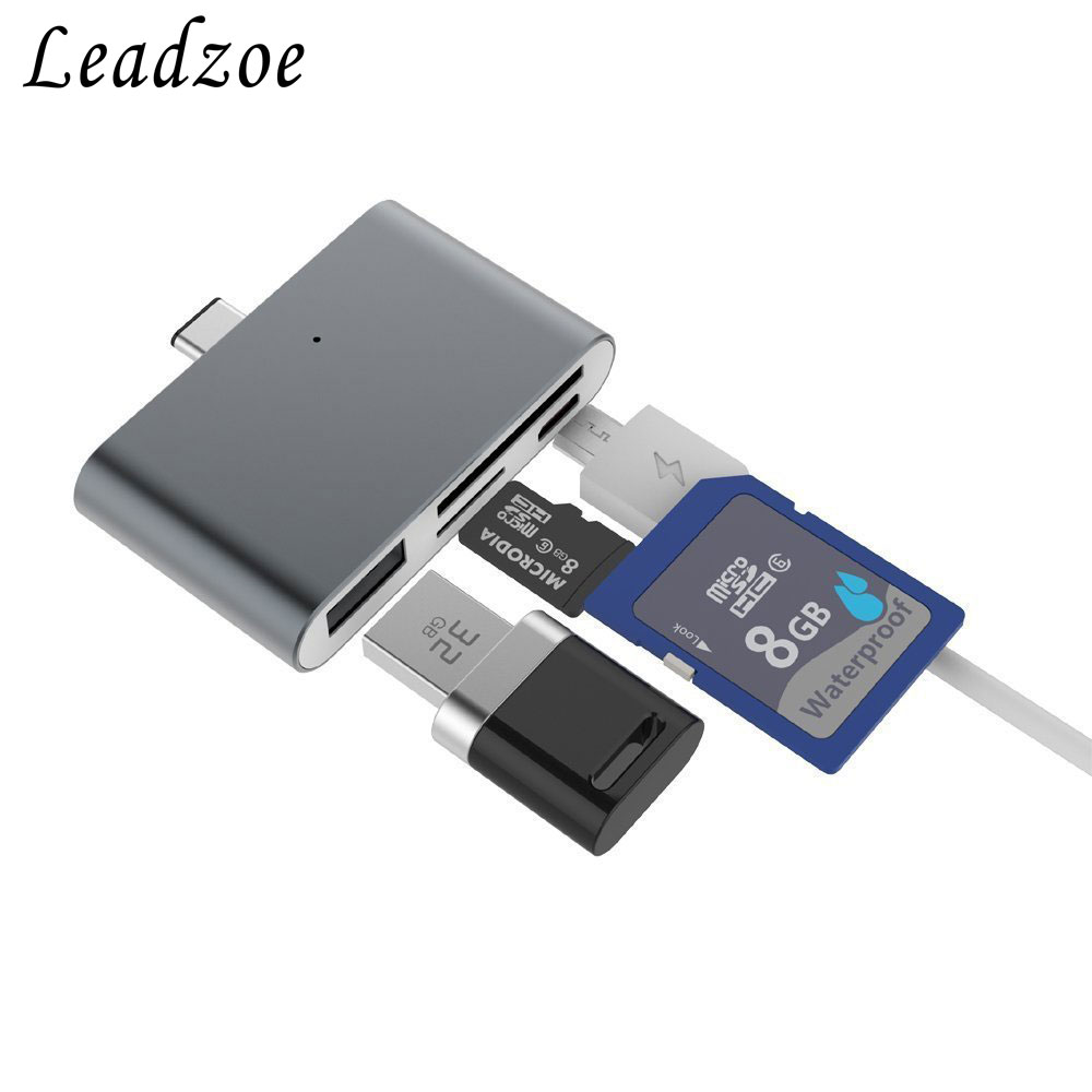 Leadzoe 4-in-1 USB 3.1 Type-C Card Reader Hub Adapter for SD,microSD,Micro-USB,USB for MacBook Laptop,Android,Apple, Mac,PC 2017
