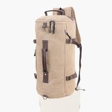 Mens Multifunction Outdoor Sport Two Shoulder Crossbody Handbag Vintage Canvas Hiking Bag Cylinder Shape Travel Backpack