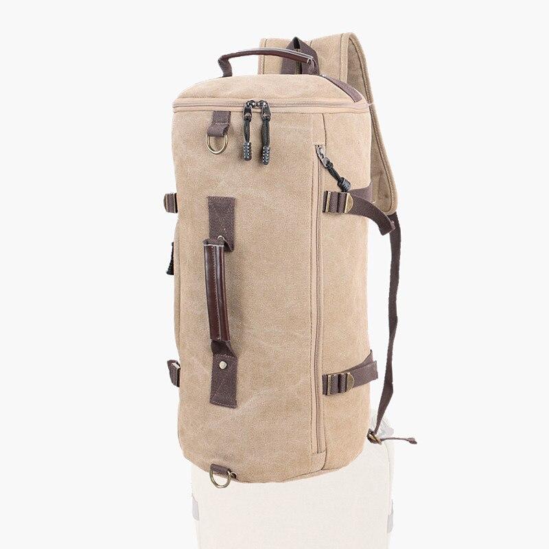 Mens Multifunction Outdoor Sport Two Shoulder Crossbody Handbag Vintage Canvas Hiking Bag Cylinder Shape Travel font