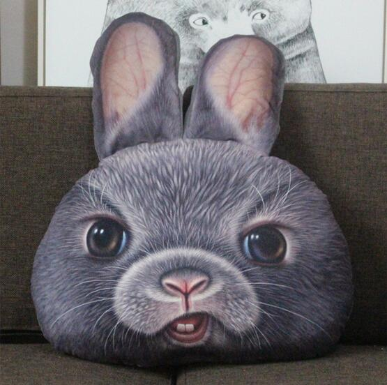 1Pc Approx 50x40Cm 3D Printed Rabbit Bear Cat Face Cushion Home Decoration Car Seat Cushion Plush Pillow Kids Birthday Toys Gift ...