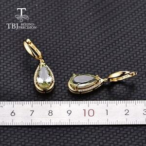 Image 4 - TBJ, Natürliche prasiolite grün amethyst mix edelstein verschluss Ohrring 925 Sterling Silber Edlen Schmuck Für partei beste valentine box