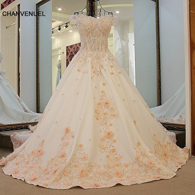 Ls54720 champagne evening dress elegant wedding party for Champagne ball gown wedding dresses