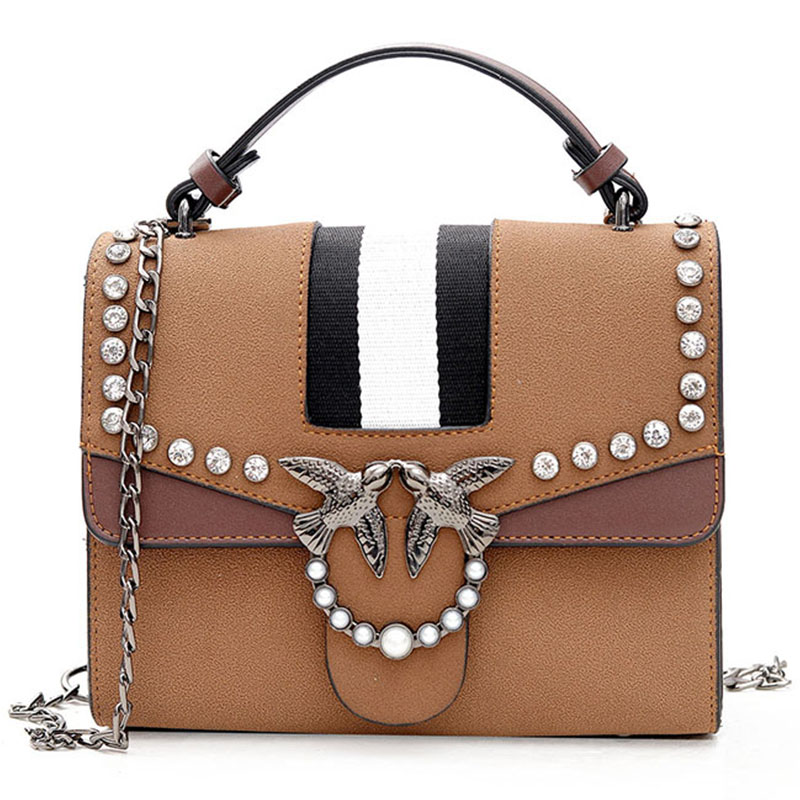 Women Bag Female Leather Handbags Shoulder Bag Crossbody Tote Handbag Rivet Luxury Designer 2018 New Girl Vintage Fringe Bags leftside fashionable 2017 women tassel designer rivet boston bag female handbag woman hand bags shoulder bag with wide strap