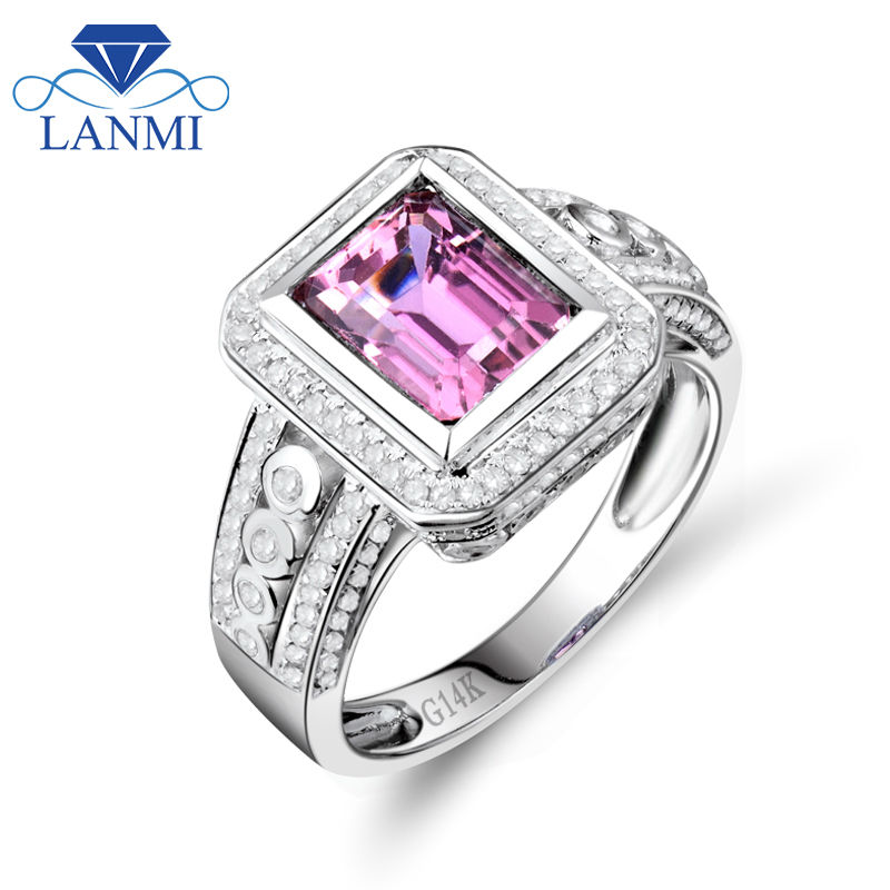 Vintage Jewelry Emerald Cut 6x8mm Natural Tourmaline In 14Kt White Gold Engagement Ring Fine Jewelry Gift for Women SR0058