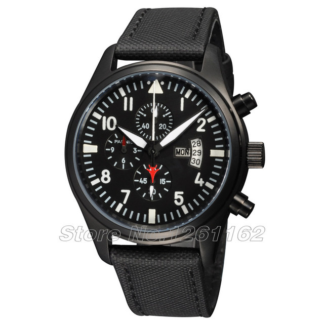 Free shipping 42mm Parnis Black Dial PVD Case White Number Full Chronograph Mens Watch PQ4201PW