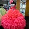 Sexy Hot Pink Vestidos Quinceanera vestido de Baile 2016 Organza Ruffles doce 15 Vestido Brilhante Quinceanera Vestido Novo Vestidos De 15 Ano