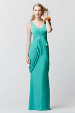 Free Shipping Discount Trumpet Mermaid V-Neck Floor Length Pleated Chiffon Bridesmaid Dress BD012
