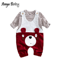 AmyaBaby Autumn Baby Boys Clothes Set Striped T Shirt Cartoon Bear Strap Pants 2 Pcs Clothing
