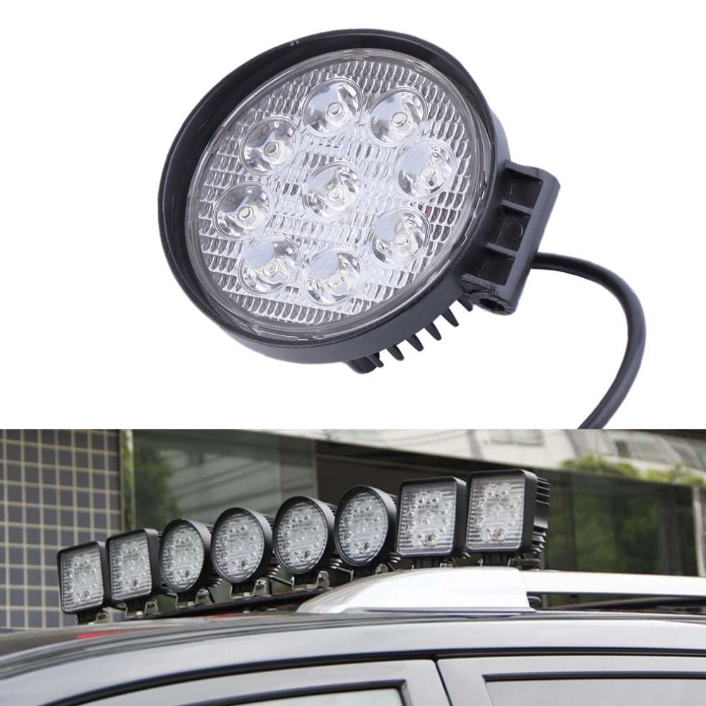 2016 27W 12V LED Work Light 60 Degree High Power LED Offroad Light Round Off road LED Work Light Flood Light for Boating Hunting 90w led driver dc40v 2 7a high power led driver for flood light street light ip65 constant current drive power supply