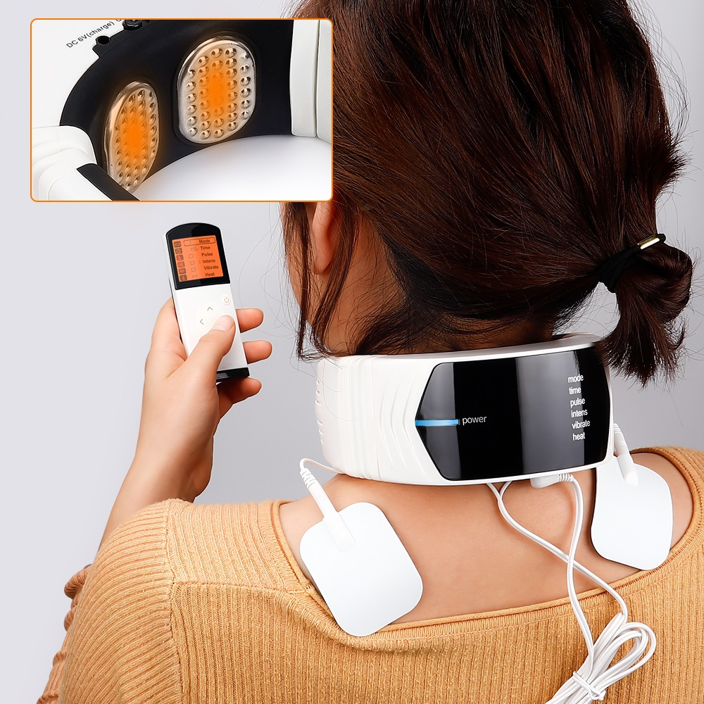 Wireless Remote Control Neck Electric Pulse Massager Cervical Physiotherapeutic Tool Body Relaxation Pain Relief Equipment