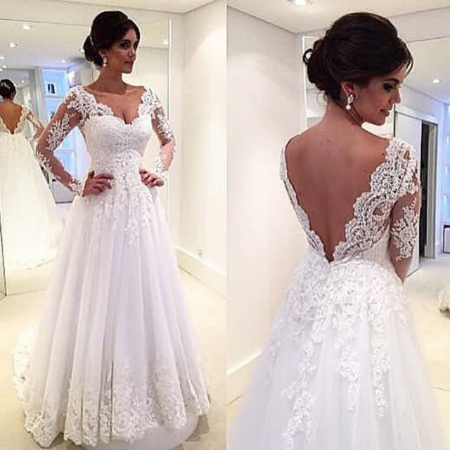 A Line Sexy V Neck Long Sleeve Lace Backless Wedding Dresses With Applique Mature  Bride Gown