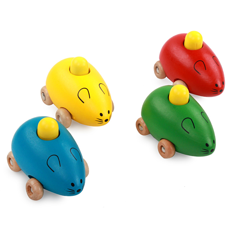 Hot Sale Baby Rattle Toy Musical Instruments Wooden Handle Children Mouse Music Educational Toys