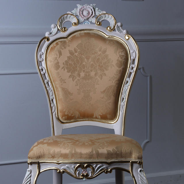 teak hand carved furniture - hand carved leaf gilding dining chair european antique furniture