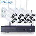 Techage 8ch red nvr kit 960 p 1.3mp inalámbrica wifi cctv sistema IR Exterior P2P IP de Vigilancia de Seguridad de Vídeo Con 8 UNIDS cámara