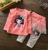 2016 New kids clothes sets girl baby long sleeve cotton girl casual suits baby clothing retail children suits Free shipping