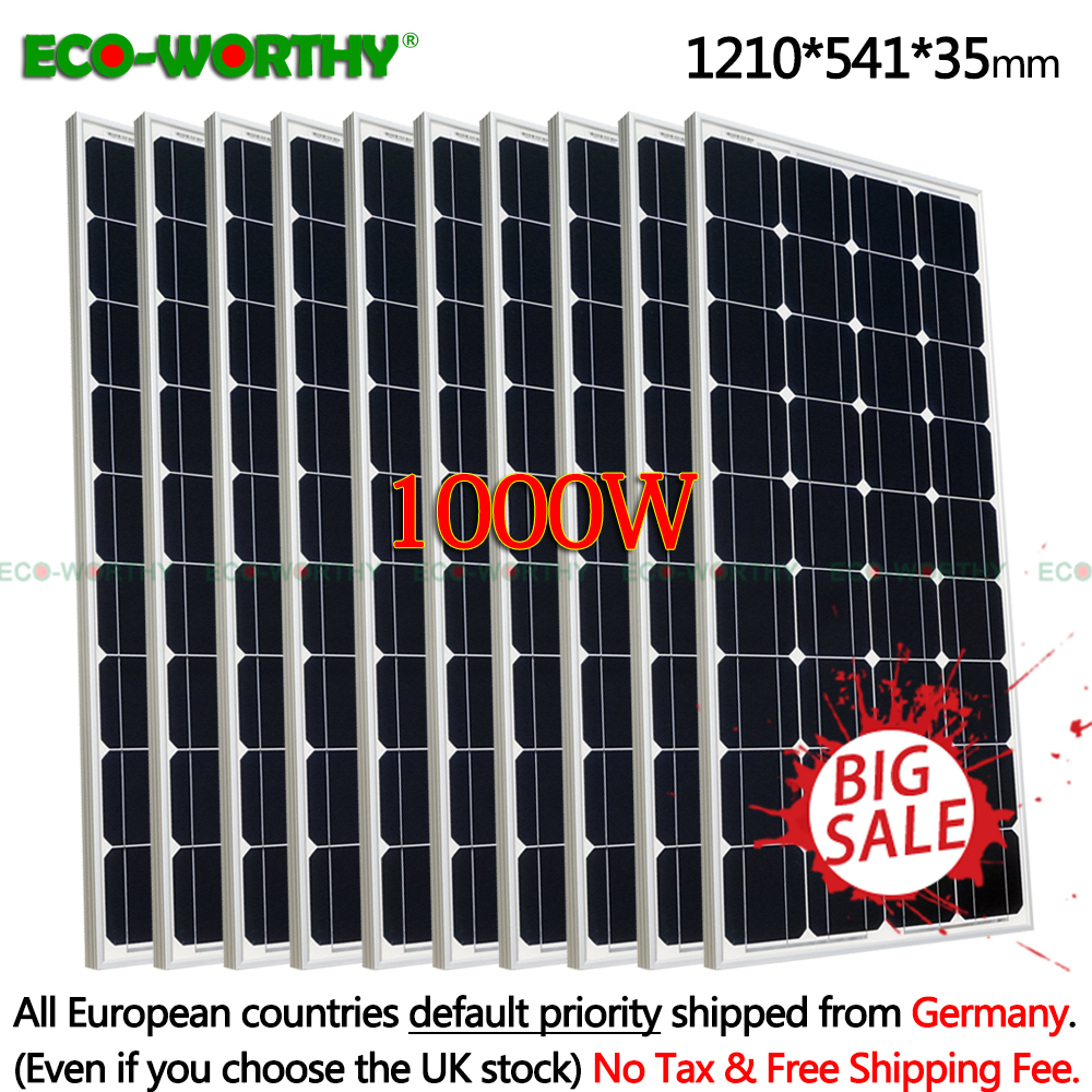 1000W Monocrystalline 18V Solar power Panels for 12V Battery charger Home Solar panels 1000w 10pcs 100W 12V solar panels system1000W Monocrystalline 18V Solar power Panels for 12V Battery charger Home Solar panels 1000w 10pcs 100W 12V solar panels system