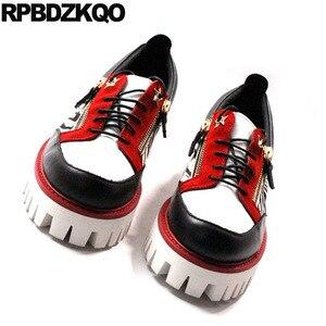 Image 3 - حذاء جديد فاخر من Oxfords بتصميم زاحف من المطاط وطرف معدني من الجلد الطبيعي حذاء رجالي عصري غير رسمي عالي الجودة بسوستة مقاس كبير