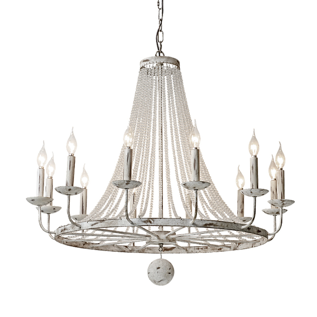 wongshi Retro Vintage American Country Crystal Chandelier Old Iron French Crystal Chandelier Lamps