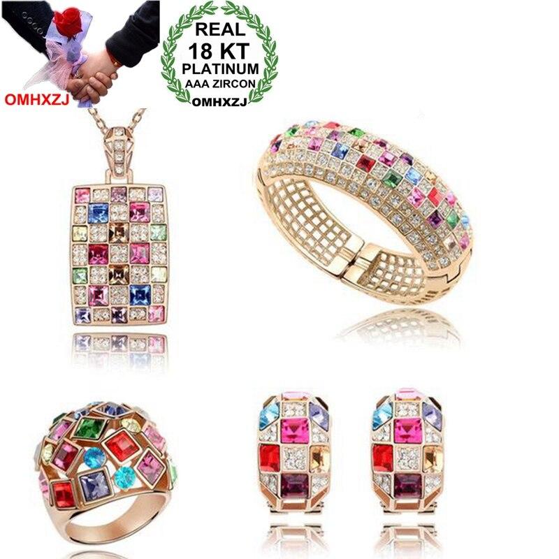 OMHXZJ Wholesale AAA Austrian Crystal Gold Silver 18KT Platinum Woman Bride Queen Necklace Earrings Ring Jewelry