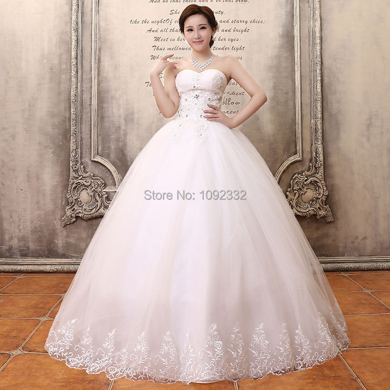 S Stock 2016 New Plus Size Women Tube Top Bridal Gown: S 2016 Stock New Plus Size Women Bridal Gown Fashion