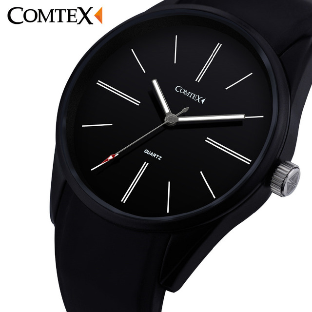 COMTEX Brand Men Watch Large Dial Face Wrist Watch Analog Display Quartz Movement Sports Watch Silicone Rubber Strap Pin Buckle