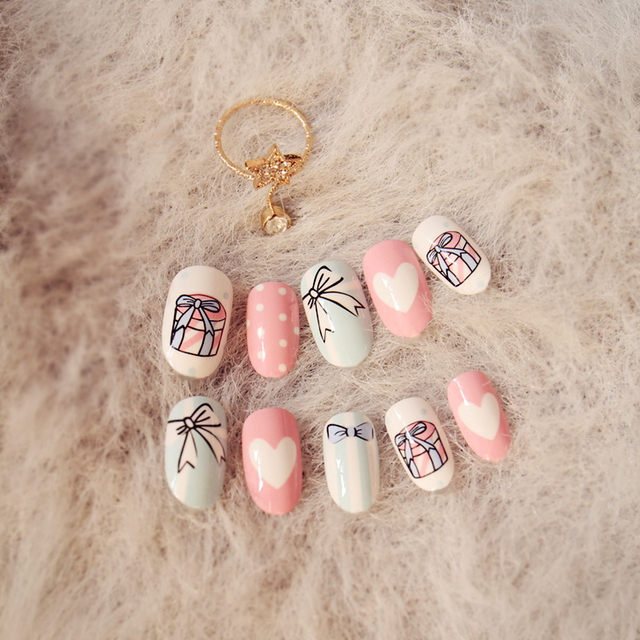 My cute cream pink cake pattern fresh french false nails 24pcs with ...