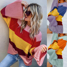 S-XL autumn winter patchwork knit sweater women clothes sweaters  long sleeve o-neck pullovers striped loose